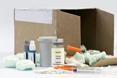Rifornimenti del diabetico di acquisto per corrispondenza fotografia stock