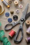 Rifornimenti di cucito fotografia stock