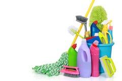 Rifornimenti di pulizia in secchio Fotografia Stock