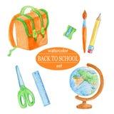 Rifornimenti di scuola arancio dell'acquerello Fotografia Stock Libera da Diritti