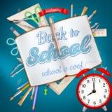 Rifornimenti di scuola su fondo blu ENV 10 Immagini Stock Libere da Diritti