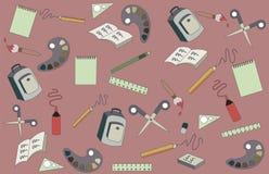Rifornimenti di scuola su un fondo rosa Cancelleria e studi immagini stock