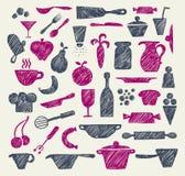 Rifornimenti disegnati a mano della cucina Fotografie Stock Libere da Diritti