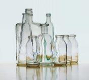 Rifrazione della bottiglia di vetro, riflessione che galleggia sull'orizzonte Fotografie Stock Libere da Diritti