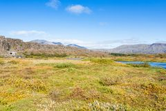 Rift valley with Oxara river in Thingvellir park. Travel to Iceland - rift valley with Oxara river in Thingvellir national park in september Stock Image