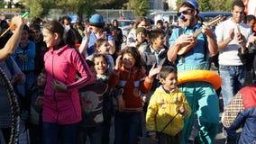 Rifugiati di acclamazione dei pagliacci porto Fotografie Stock Libere da Diritti