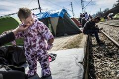 Rifugiati di Sirian bloccati in Idomeni Fotografia Stock Libera da Diritti