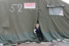 Rifugiati georgiani in Gori Immagini Stock Libere da Diritti