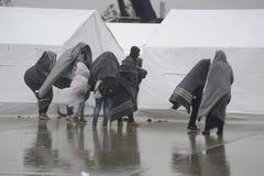 Rifugiati in Nickelsdorf, Austria fotografia stock libera da diritti