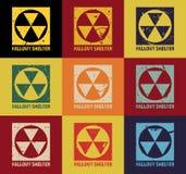 Rifugio antiatomico Simbolo nucleare d'annata Segno radioattivo di zona Illustrazione di vettore royalty illustrazione gratis