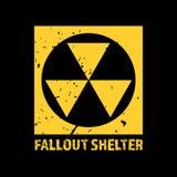 Rifugio antiatomico Simbolo nucleare d'annata Segno radioattivo di zona Illustrazione di vettore illustrazione di stock