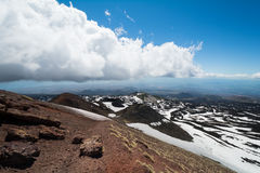 Rifugio del Etna在海平面上的1800 m在西西里岛,意大利 图库摄影