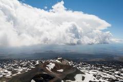 Rifugio del Etna 1800 m above sealevel in Sicily, Italy. Refugio Ragabo Etna Nord at Mount Etna stock images