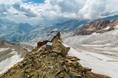 Rifugio Gnifetti at Italian alps, Monte Rosa. Gnifetti rifugio, mountain hut, Monte Rosa, Alps, Italy Stock Image