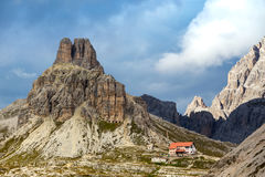 Rifugio high at the Dolomites mountains Royalty Free Stock Photos