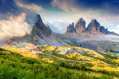 Rifugio Lacatelli in National Park Tre Cime di Lavaredo. Dolomit Stock Image