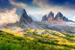 Rifugio Lacatelli in National Park Tre Cime di Lavaredo. Dolomit Stock Image