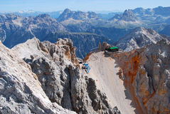 Rifugio San Lorenzo from via ferrata Ivano Dibona Royalty Free Stock Images