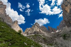 Sassolungo group in Dolomites, North Italy stock images
