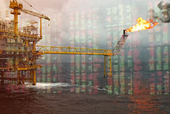 Rig background with investment market stock double exposure concept stock image