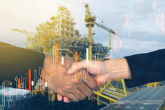 rig background man and woman shakehands with investment market s Stock Image