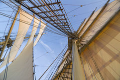 Rig of a brig. The rigging of a squaresailer seen from deck. Swedish tall ship, the brig Tre kronor af Stockholm underway Royalty Free Stock Images