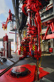 Rig Floor. Hydraulic high pressure driven machinery Stock Photo