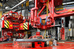 Rig Floor. Hydraulic high pressure driven machinery Stock Photos