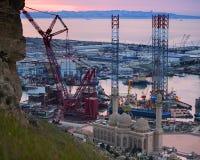 Rig Leaves Shipyard de forage Images libres de droits