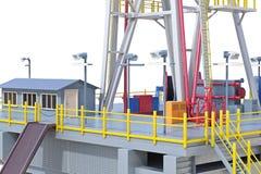 Rig platform oil production, close view. Rig metal platform machinery oil production, close view. 3D rendering stock illustration