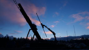 Rig.Russia.Komi. Well, Sunset on the rig. North of Russia royalty free stock photo