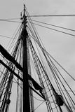 Rig of sailing ship. Silhouette of rig on old sailing ship, grayscale Stock Photography