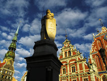 Riga. Town Hall Square and the House of the Black Heads in Riga, Latvia Stock Image