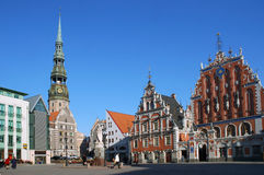 Riga. The town hall area, Sacred Peter's church, the house Black-headed Royalty Free Stock Images