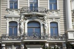 riga Adornamiento de una fachada del edificio en th Imágenes de archivo libres de regalías
