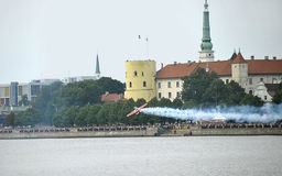 Riga. Air show on the bank of Dvina. Stock Images