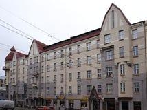 Riga Aleksandra Caka 55 gata, historiska byggnader Royaltyfri Fotografi