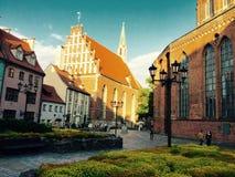 riga Alte Stadt Dunkelheit mit Beleuchtung Sommer 2015 Stockbild