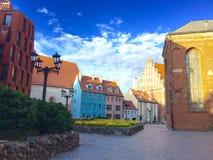 riga Alte Stadt Dunkelheit mit Beleuchtung Sommer 2015 Stockfotografie