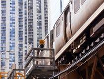 Riga arancione treno del Chicago sul ciclo Immagini Stock Libere da Diritti