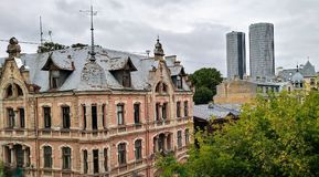 Riga-Architektur Highrise jugendstyle Glasgebäude stockfotos