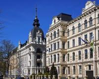 Riga, Art Nouveau quarter, the crossroads of Vilandes and Elizabetes. Modern Royalty Free Stock Images