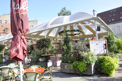 Riga august 22 2014 - Downtown terrace from Riga in Latvia stock photos
