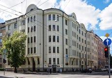 Riga Baznicas 46, Art Nouveau, arkitekt Konstantin Pekshens Royaltyfri Fotografi