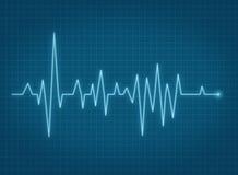 Riga blu di battito cardiaco di impulso di ECG Fotografia Stock Libera da Diritti