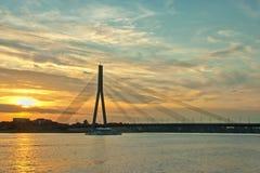 Riga bridge over the river Daugava. Riga suspension bridge over the river Daugava Royalty Free Stock Image