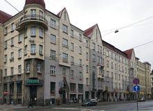 Riga, calle de Aleksandra Caka 55, edificios históricos Foto de archivo