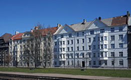 Riga, calle de la exportación 4-6, bloque cerca del puerto Fotografía de archivo libre de regalías