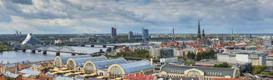 Aerial panoramic view on the center of Riga. Riga is the capital and largest city of Latvia, a major commercial, cultural, historical and financial center of the Royalty Free Stock Photo
