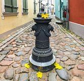 Autumn in narrow medieval street of old Riga Royalty Free Stock Photo